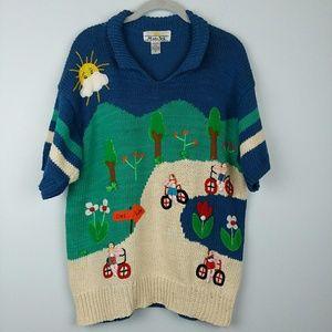 Vintage Hand-knit Folk Art Sweater People Crazy